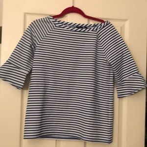 Blue & white striped shirt with bell sleeves